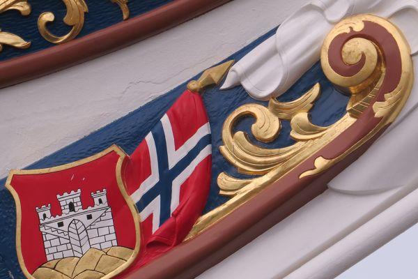 Detail on the Norwegian Tallship Statsraad Lehnkohl, Norway