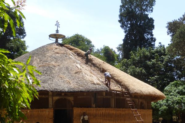 The grass-roofed Azuwa Maryam church on Lake Tana