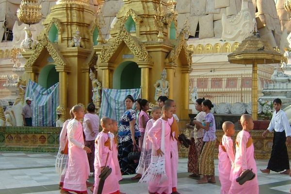 Young Buddhist nuns visiting Shwedagon Pagoda, Yangon, Myanmar