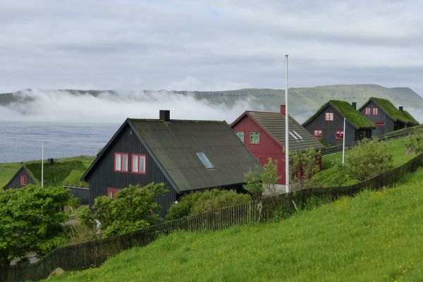 Traditional Faroese houses in Kirkjubour