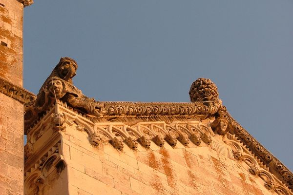 Detail of St Mark's Cathedral, Korcula island, Croatia