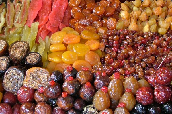 Dried fruit in Yerevan market, Armenia