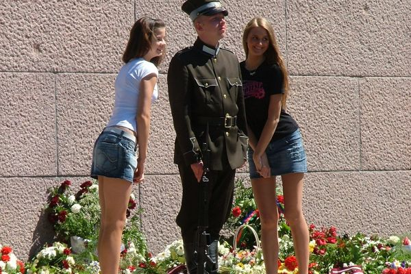 Posing with the military, Riga, Latvia
