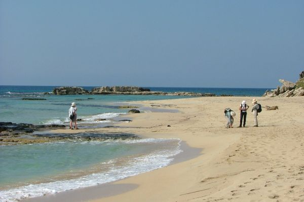 Walking on a Karpaz peninsula beach