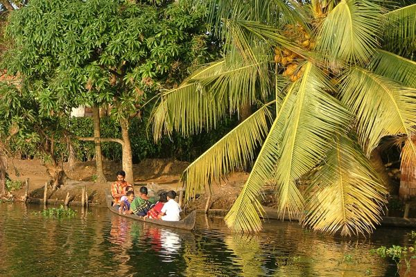 Backwaters scene, Kerala, India