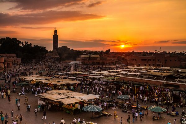 Jemaa el Fna in Marrakech at sunset