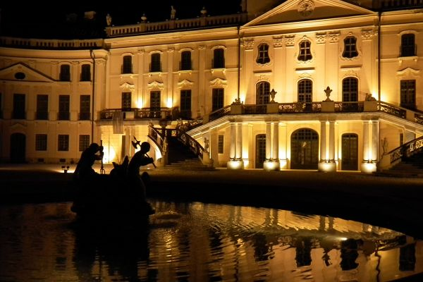 Floodlit Esterhazy Palace, Fertod, Hungary