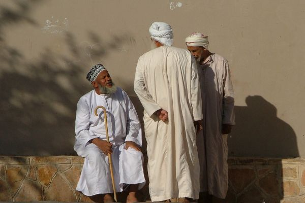 Omani men in traditional dress