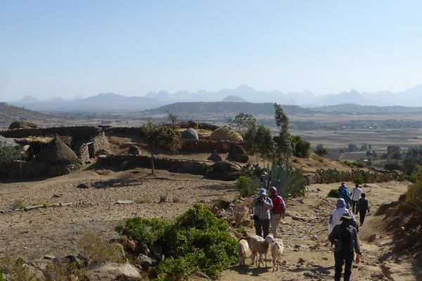 Walking outside Axum through magnificent rural scenery with extensive views