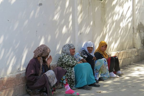 Uzbek ladies resting in the shade