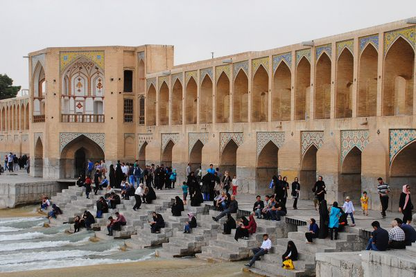 Four famous bridges span the Zayandeh river in Isfahan and are popular meeting places for the locals