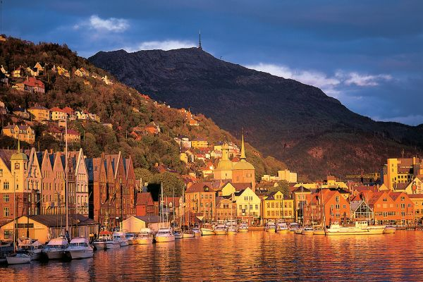 Bergen harbour at sunset, Norway