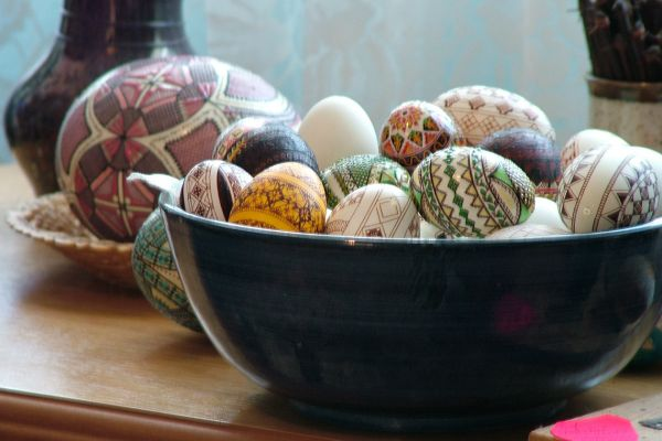 Hand painted eggs in Romania