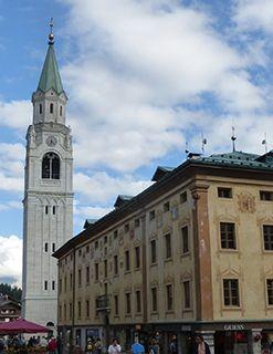 Dolomites Cortina church